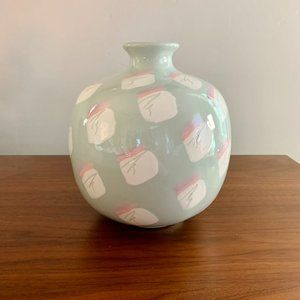 Vintage 80's Mint & Pink Abstract Boho Round Vase